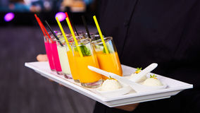 Set of different vegetable juices on the bar. Royalty Free Stock Photos