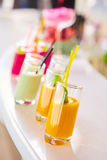 Set of different vegetable juices on the bar. Royalty Free Stock Image