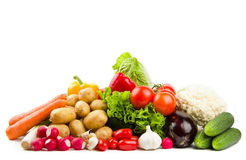 Set of different vegetables. Set of different summer vegetables isolated on white stock image
