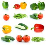Set of different vegetables. Isolated on the white background Stock Image
