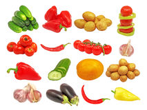 Set of different vegetables.Isolated. Stock Image