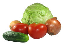 Set of different vegetables isolated on white Royalty Free Stock Image