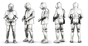 Set of different view armor  on white background. 3d ren Royalty Free Stock Photo