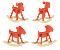 Set of different view of elk; rocking toy Royalty Free Stock Photography