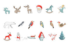 Set of different vintage Christmas decorations isolated on white. Simple colors. Royalty Free Stock Image