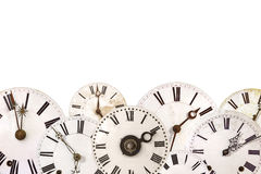 Set of different vintage clocks isolated on white Stock Images
