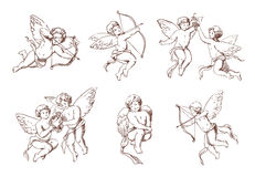 Set of different vintage cupid. Various flying angels with arrows and bow collection. Vector monochrome amur hand drawn Royalty Free Stock Photography