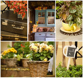 Set of different vintage decor photos Royalty Free Stock Image