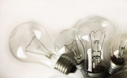 Set of the different vintage electric bulbs stock image