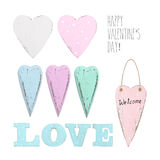 Set of different vintage hearts Royalty Free Stock Images