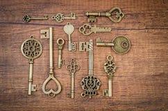 Set of different vintage keys. Stock Images