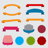 Set of different vintage shapes. Set of different ribbon and vintage shapes Royalty Free Stock Photos