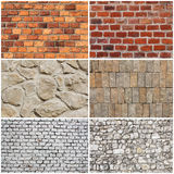 Set of different wall brick and stone texture Royalty Free Stock Photo