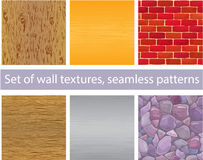 Set of different wall textures - wood, silver and  Royalty Free Stock Images