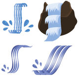Set of Different Waterfalls Icons Stock Photos