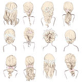 Set of different wedding hairstyles with flowers for blondes. Set of different hairstyles, wedding hairstyles, hair styles with flowers, sketch hairstyle head Stock Images