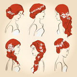 Set of different wedding hairstyles with flowers for red hair Royalty Free Stock Photo