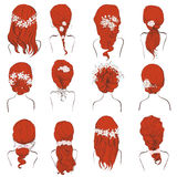 Set of different wedding hairstyles with flowers on red hair Royalty Free Stock Photography