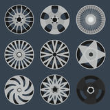 Set of different wheel rims Royalty Free Stock Photo