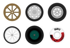 Set of different wheels Stock Image