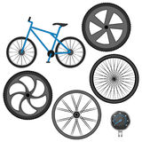 Set of different wheels, bike and speedometer isolated on white Stock Images