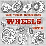 Set of different wheels Royalty Free Stock Image