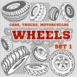 Set of different wheels Royalty Free Stock Photo