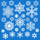 Set of different white snowflakes icons Stock Images
