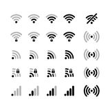 Set of different wifi connection black icons Stock Photos