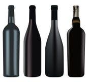 Set of different wine bottles stock photo