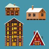 Set of different winter wodden und brick houses and hotels Stock Photos