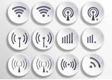Set of different wireless 3d buttons and wifi icons. Set of twelve different vector wireless 3d buttons and wifi icons for remote access and communication via Stock Photos