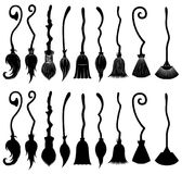 Set of different witch brooms. Isolated on white Stock Photography