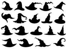 Set of different witch hats. Isolated on white Stock Photography