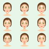 Set of different woman face types vector illustration character shapes girl makeup beautiful female Stock Photos