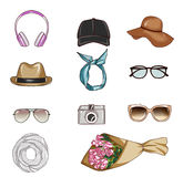 Set of different woman's accessories Royalty Free Stock Images