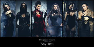 Set of different women. Halloween creatures collection Stock Photo