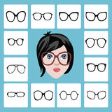 Set of different women  icons in glasses Royalty Free Stock Photos