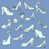 Set of different women shoes Stock Photos