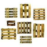 Set of different wooden pallet, yellow royalty free illustration