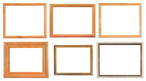 Set of different wooden picture frames Royalty Free Stock Images