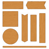 Set of different wooden planks and signs on white background Stock Image
