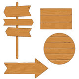 Set of different wooden planks and signs on white background Royalty Free Stock Photo