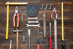 Set of different work tools: screwdriver, pliers, hammer, pliers Stock Image