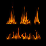 Set of Different Yellow Orange Fire Flame Bonfire. Vector Set of  Different Yellow Orange Fire Flame Bonfire  on Background Stock Photography
