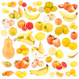 Set of different yellow and orange fruits and vegetables, isolated Royalty Free Stock Photo