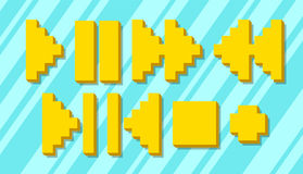 Set of different yellow pixel symbols for player Stock Images