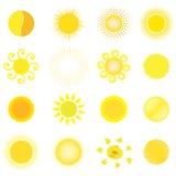 Set of sun. Set of different yellow-red sun vector Stock Photos