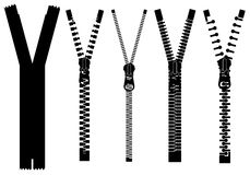 Set of different zippers Royalty Free Stock Photo
