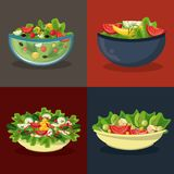 Set of differents salads in bowls. In colorful frames vector illustration graphic design Stock Photos